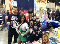 Writer Eric M. Esquivel and artist Missy Pena pose with a Beth Tezuka cosplayer from BRAVEST WARRIORS! (photo taken by S. Hocutt)