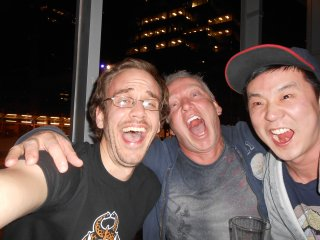 Writer Paul Jenkins and artist Wook-Jin Hunter Clark and I having fun at the Copper Blues!